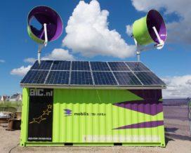 Energiecontainer levert stroom op bouwplaats Mobilis ...