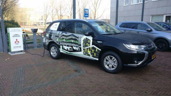 Auto als energieopslag voor kantoorpand